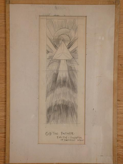 "[Design drawing for stained glass window with text ""God the Father- Faith""]"
