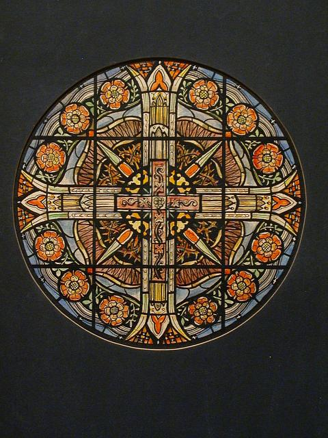 [Design drawing for stained glass Rose Window for Franklinton Methodist Church in Franklinton, North Carolina]