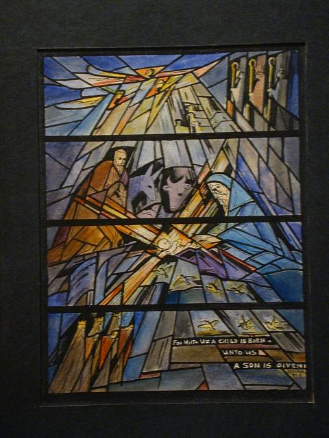 "[Design drawing for stained glass window with abstracted, fragmented Nativity with text ""For Unto Us a Child is Born...""]"