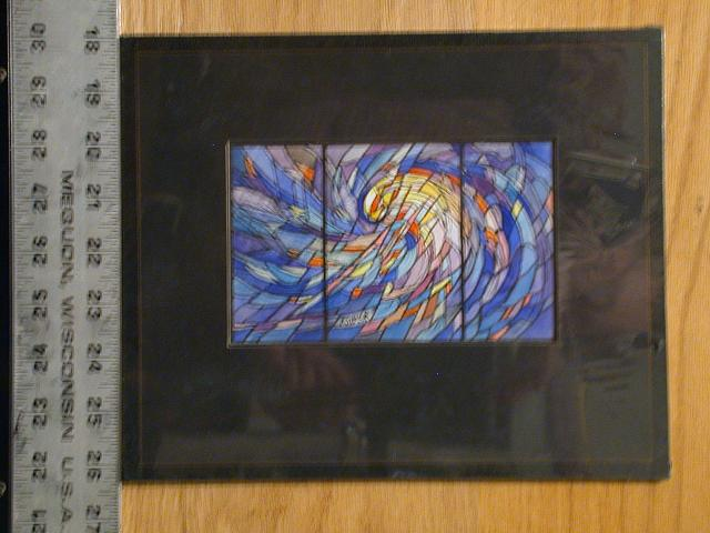 "[Design drawing for stained glass window with abstract swirl (after Hokusai?), ""a spiral movement suggesting galactic forces creating worlds, blue, the predominating color representing infinity;"" with text ""Power""]"