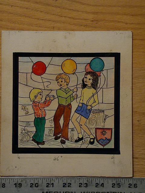 [Design drawing for stained glass window showing 3 modern (ca. 1975) children play outdoors; with bell-bottoms, balloons, butterfly, tree stump, patch or shield with water and compass rose]