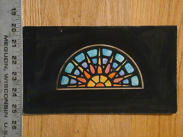 [Design drawing for stained glass fanlight window with half sun rise or set]