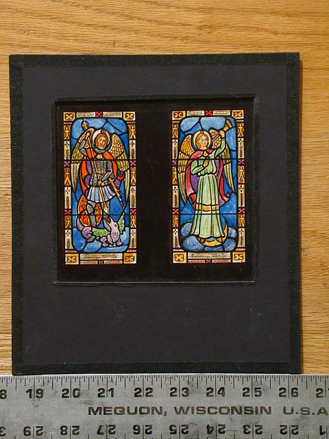 [Design drawing for stained glass window with St. George and St. Gabriel(?) for Cathedral Church of St. Paul in Detroit, Michigan]