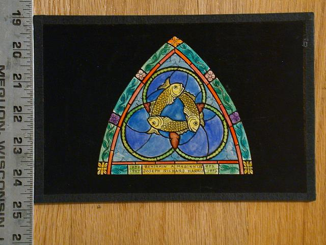 "[Design drawing for stained glass memorial window with three 3 fish/rebirth with text ""Benjamin A Meginiss, 1884-1972; Joseph Richard Harris, 1947-1972""]"