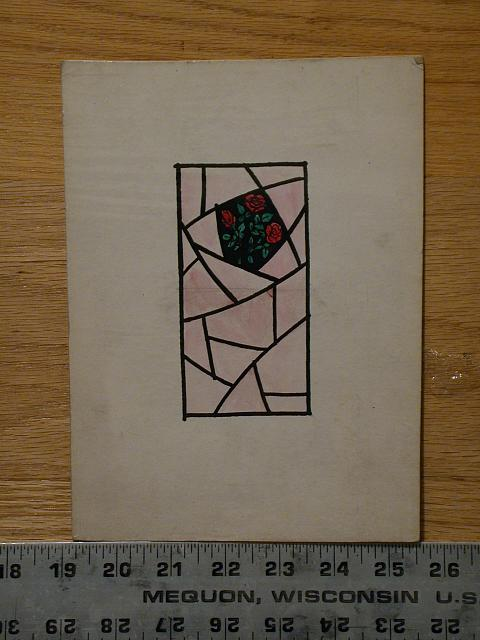 [Design drawing for stained glass window with three roses on pale, translucent pink ground]