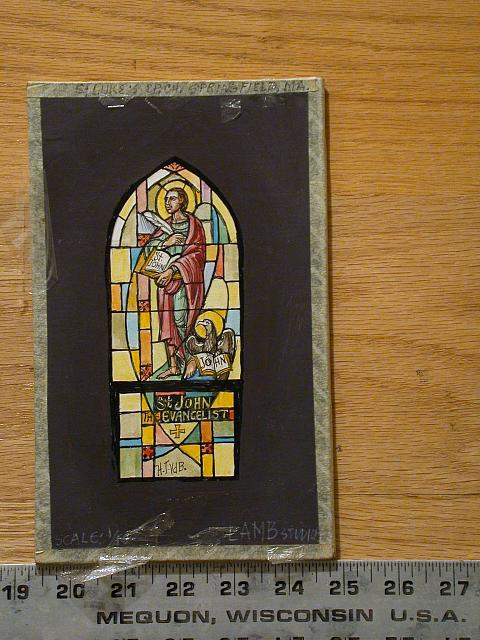[Design drawing for stained glass window showing St. John the Evangelist with eagle and gospel for St. Luke's Episcopal Church in Springfield, Massachusetts]