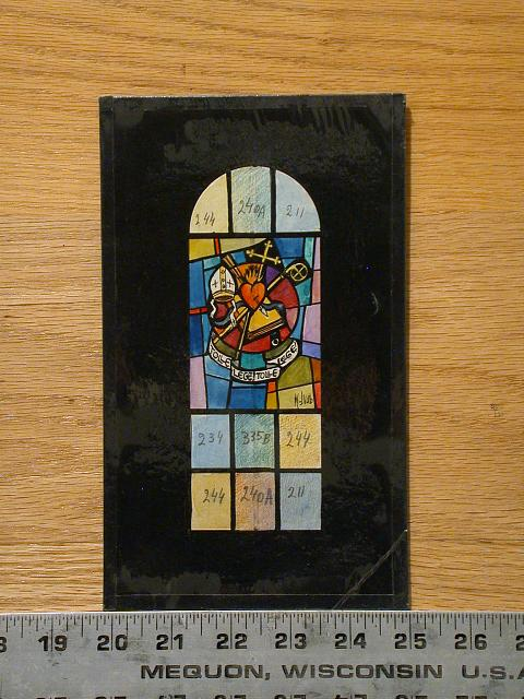 "[Design drawing for stained glass window with text ""Tolle, Lege, Tolle, Lege!"" with sacred heart and symbols]"