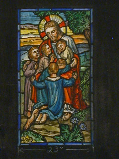 [Design drawing for stained glass window showing Christ with children for Scarsella Mausoleum in Valhalla, New York]