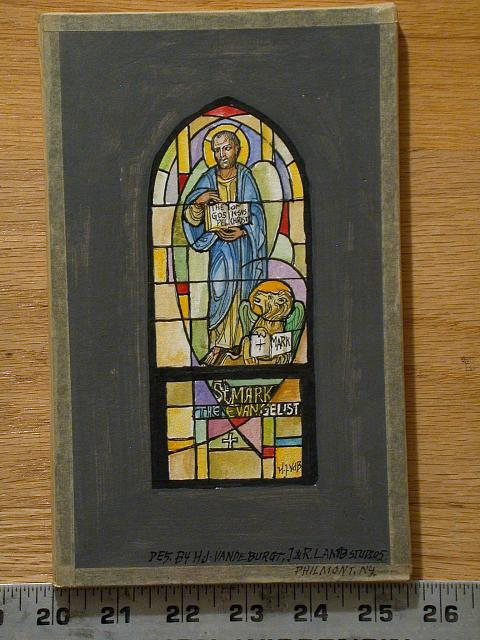 [Design drawing for stained glass with St. Mark the Evangelist]