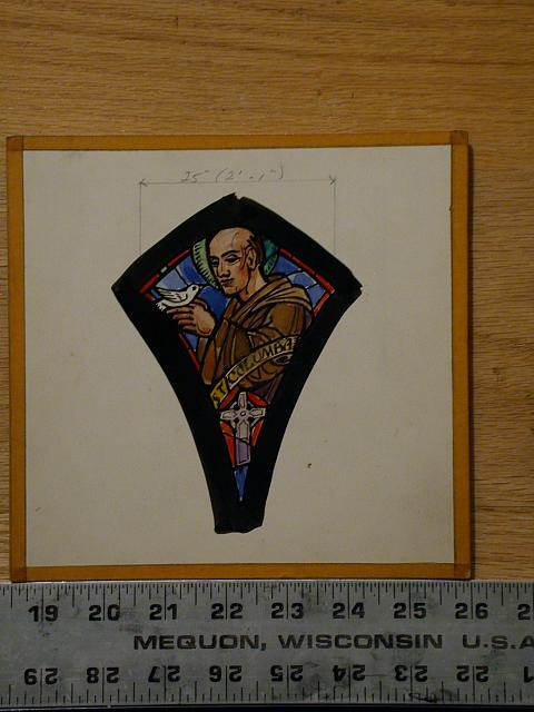 [Design drawing for stained glass window with St. Columba]