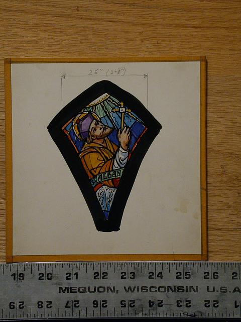 [Design drawing for stained glass window with St. Alban]