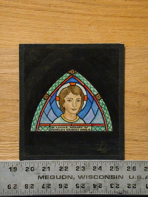 "[Design drawing for stained glass memorial window showing haloed young boy in pointed arch with quatrefoil border; possible portrait; with text ""In Loving Memory of Charles Gilbert Hays Jr.""]"