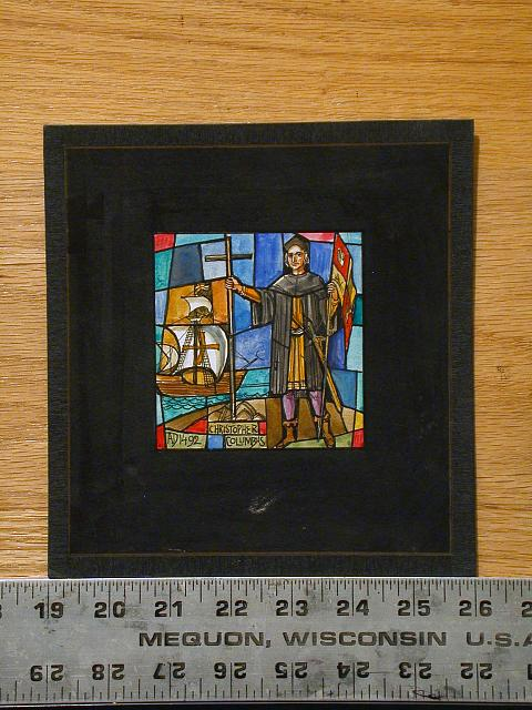 "[Design drawing for stained glass window with ship, planting flag, and cross with text ""Christopher Columbus AD 1492""]"