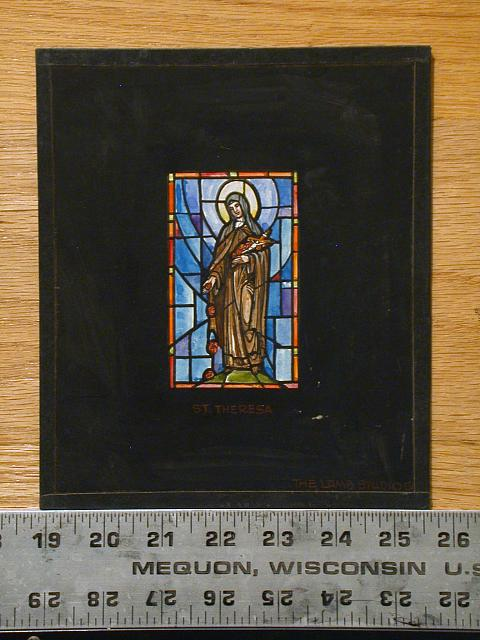"[Design drawing for stained glass window ""St. Theresa"" for a mausoleum]"
