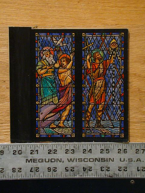"[Design drawing for two tall rectangular stained glass windows ""Jonah"" and ?]"
