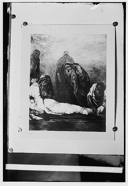 Set of religious paintings of Christ's passion, by Kosheleff, in Russian hospice, Jerusalem. Christ's body prepared for burial