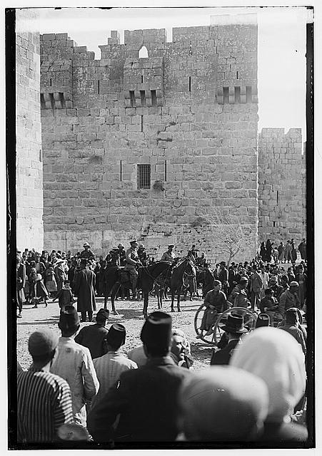 The surrender of Jerusalem to the British, December 9, 1917. Brig. Gen. Watson and Col. Bailey at the Jaffa