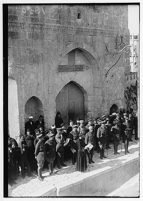 Entry of Field Marshall Allenby, Jerusalem, December 11, 1917. Franciscan monk reading the proclamation in French