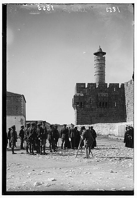 Entry of Field Marshall Allenby, Jerusalem, December 11, 1917. Field Marshall Allenby receiving the notables