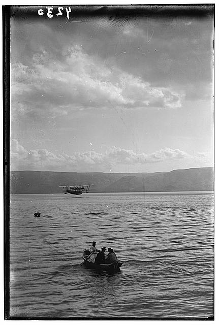 Air views of Palestine. Aircrafts etc. of the Imperial Airways Ltd., on the Sea of Galilee and at Semakh. Flying boat's arrival at Sea of Galilee. Oct. 20, 1931. Aircraft seen in distance