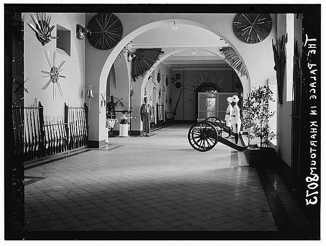 Sudan. Khartoum. Hallway of the Palace, can[n]on facing entrance