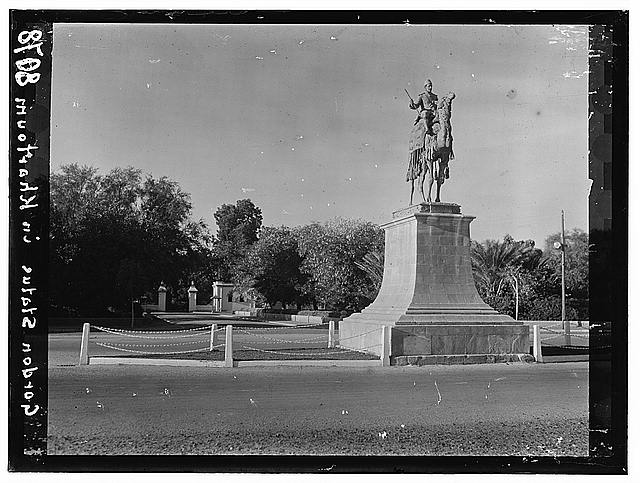 Sudan. Khartoum. Bronze monument of General Gordon on camel-back on a main cross-way