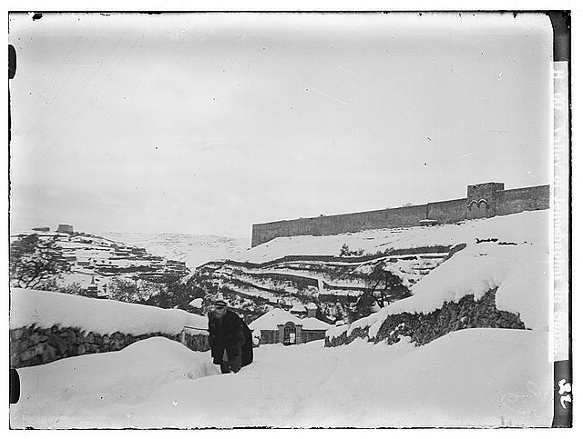 Jerusalem during a snowy winter. Valley of Jehoshaphat in snow