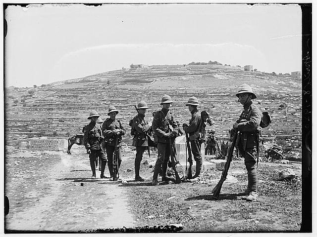 [British soldiers outside Jerusalem, during anti-Jewish riot]