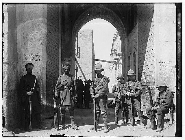 [Indian and British guards, St. Stephen's Gate, Jerusalem]