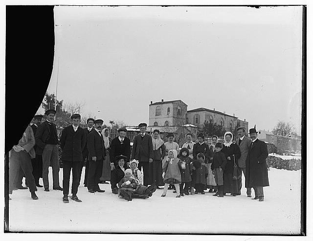 Snow in Jerusalem, 1921. People in snow posing