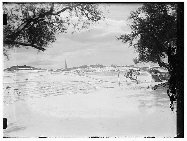 Snow in Jerusalem, 1921. Jerusalem from a distance