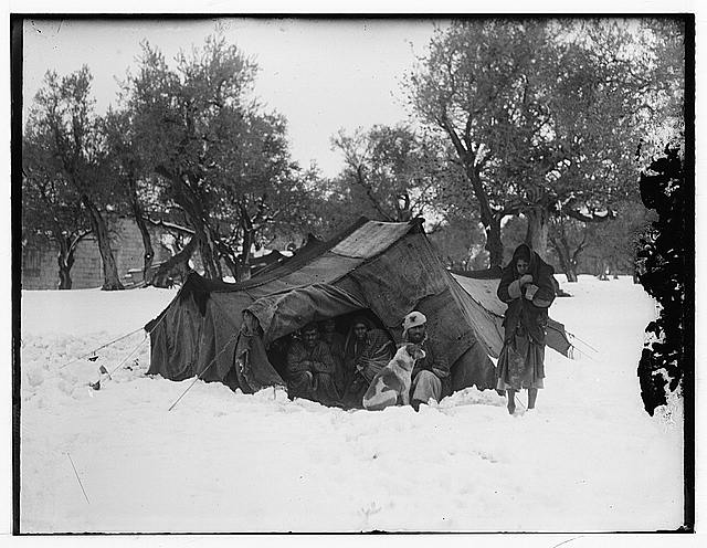 Snow in Jerusalem, 1921. Arabs in tent in snow