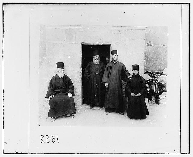 [Sinai. Monastery of St. Catherine, Greek monks at the modern entrance]
