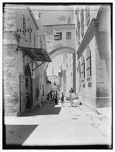 Newer Jerusalem. Via Delrosa [i.e., Dolorosa] and arch