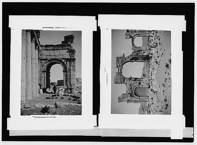 Palmyra (Tadmor). One of side arches of triumphal arch ; full view of triumphal arch, showing colonnade