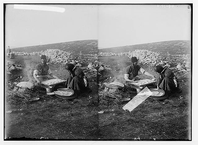 The Samaritan Passover on Mt. Gerizim. Baking the unleavened bread.