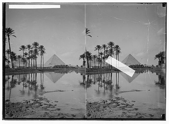 To Sinai via the desert. Pyramids with palm grove.