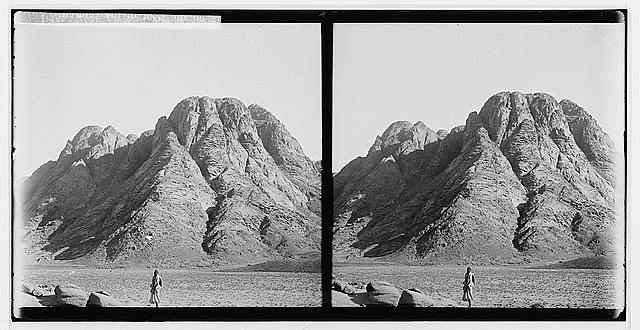 To Sinai via the Red Sea, Tor, and Wady Hebran. Near view of Mount Sinai.