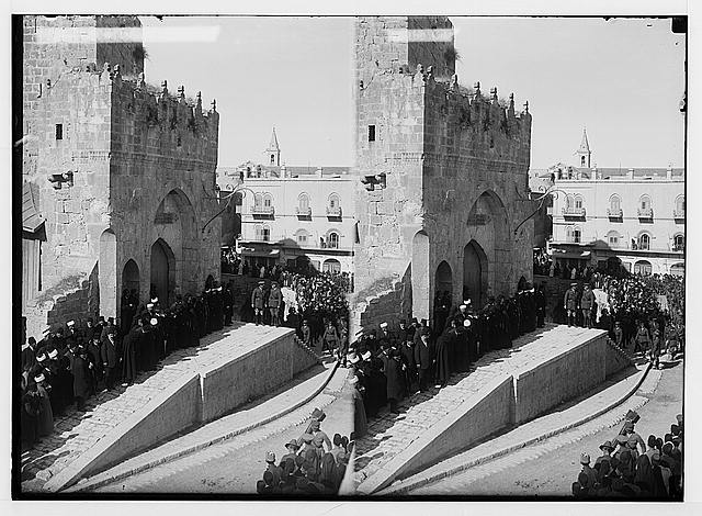Entry of Field Marshall Allenby, Jerusalem, December 11th, 1917. Field Marshall Allenby and Borton Pasha at Citadel