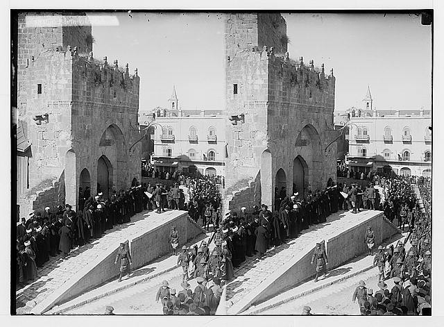 Entry of Field Marshall Allenby, Jerusalem, December 11th, 1917. Governor Borton Pasha, distributing proclamations