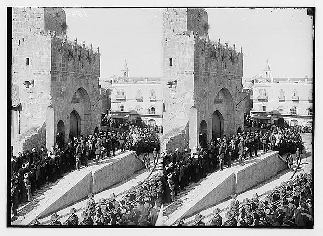 Entry of Field Marshall Allenby, Jerusalem, December 11th, 1917. Borton Pasha reading the proclamation in English