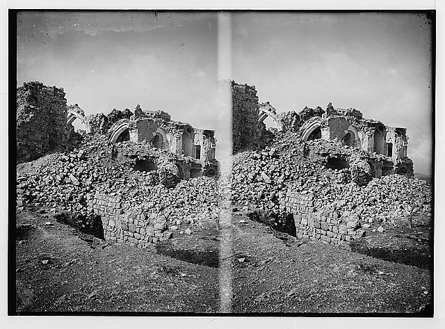 War views of Neby Samuel (Mizpah). Ruined mosque, a heap of debris.