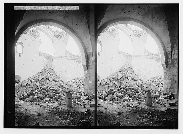 War views of Neby Samuel (Mizpah). Interior of the demolished mosque.