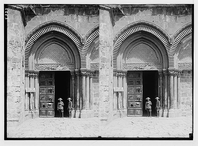 Various results of the war. Italian guard at the Church of the Holy Sepulchre.