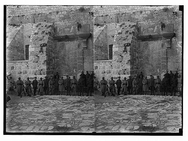 Various results of the war. British and French guards at the Church of the Nativity.