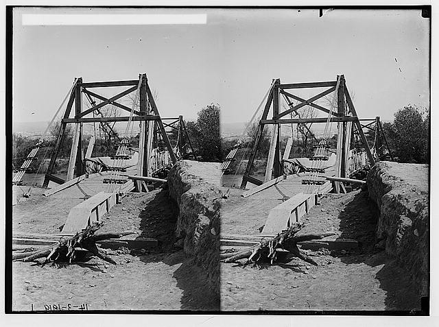 Various results of the war. Army suspension bridge over the Jordan.