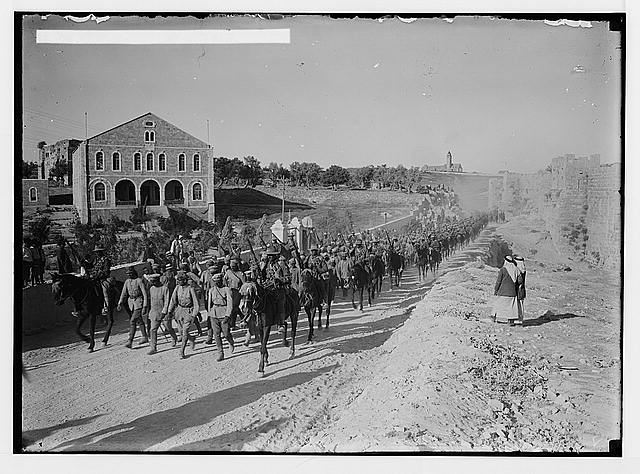 [German officers heading a line of 600 prisoners captured near Jericho, July 15th, 1918]