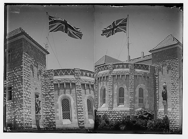 The new era in Palestine. The arrival of Sir Herbert Samuel, H.B.M. high commissioner, etc. Union Jack displayed first time on Government House; [Another view of the Union Jack on Government House].