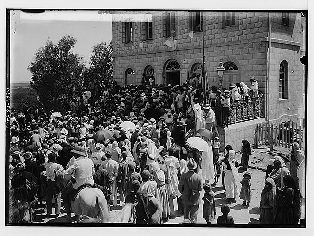 Visiting Jewish colonies. Sir Herbert Samuel leaving the synagogue [Richon le Zion].