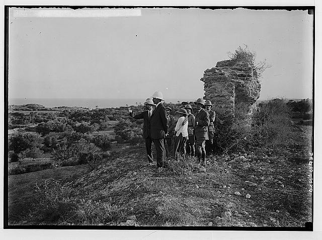 Visiting ruins of Ascalon. Sir Herbert Samuel viewing the ruins.